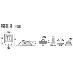 High Peak Ascoli 3 Tiendas de campaña, dark grey/red